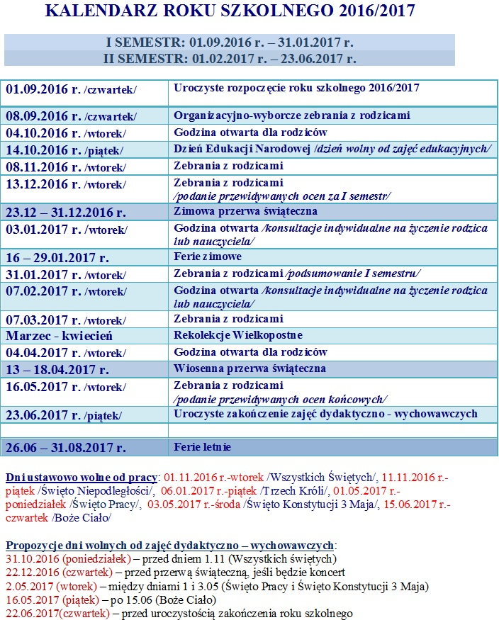 KALENDARZ ROKU SZKOLNEGO 2016-17