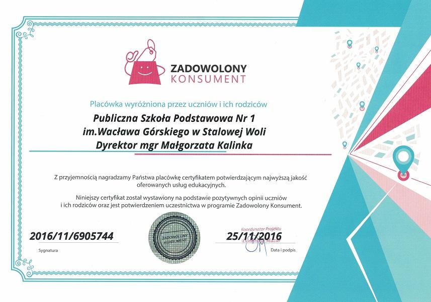 Certyfikat najwyższej jakości usług edukacyjnych ZADOWOLONY KONSUMENT_duży