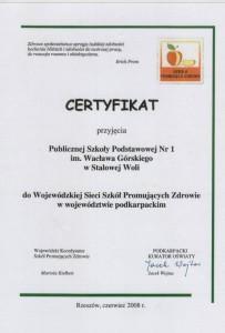 W 2008 uzyskaliśmy Wojewódzki Certyfikat Szkół Promujących Zdrowie
